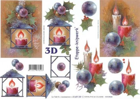 Christmas Candles Designs 3d Decoupage Sheet